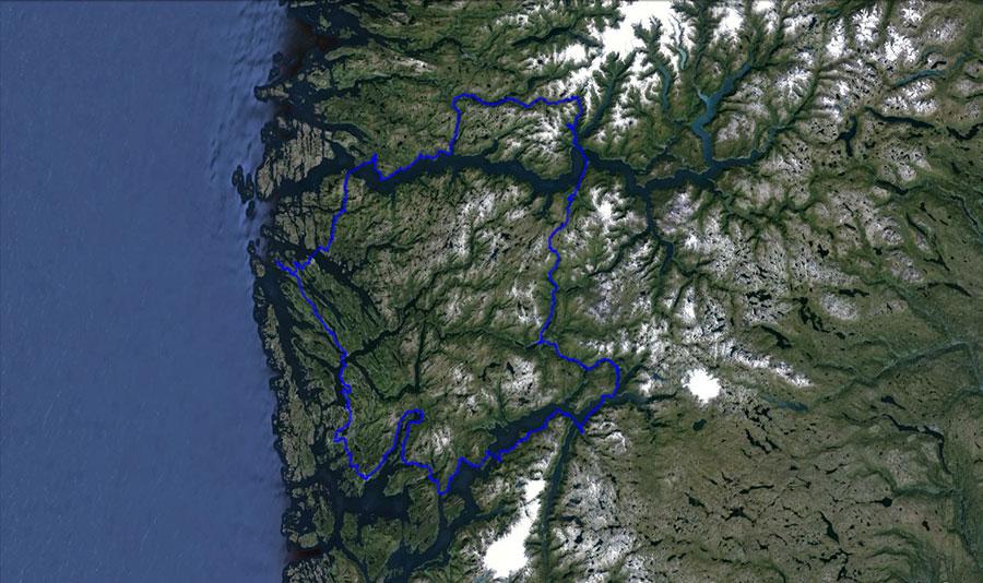 Mapa naší cesty ze satelitu